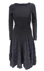 Alaia Black Wool Flared Velvet Textured Dress F40 uk 1012 - london, London, United Kingdom - Alaia Black Wool Flared Velvet Textured Dress F40 uk 1012 - london, London, United Kingdom