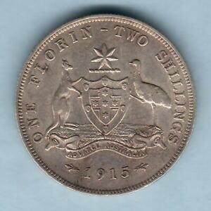 Australia-1915-Florin-Part-Lustre-VF-gVF