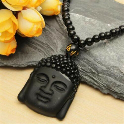 Beads Necklace ♫ Natural Black Obsidian Hand-Carved Lucky Buddha Amulet Pendant