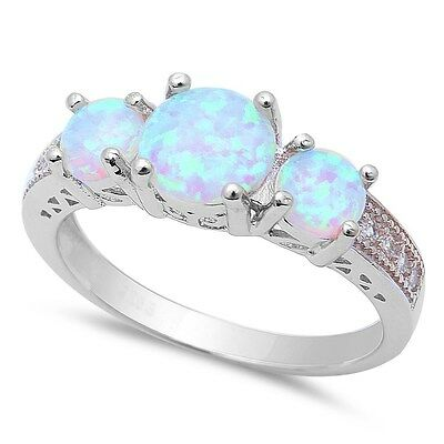 New! 3 White Fire Opal & Cubic Zirconia .925 Sterling Silver Ring Sizes 5-10