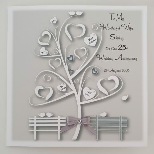 Personalised 25th Wedding Anniversary Card Husband Or Wife Any Year Or Colour...