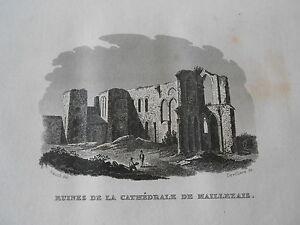 Gravure-sur-acier-1838-La-Vendee-Ruine-de-la-cathedrale-de-Maillezais