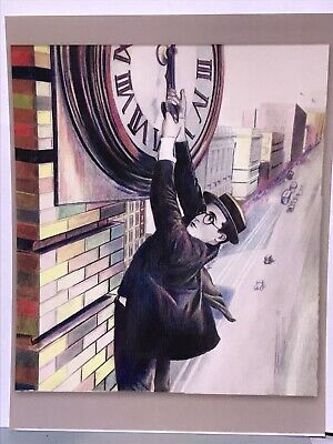 Portrait Movie Star Harold Lloyd artist art Colored Pencil drawing postcard