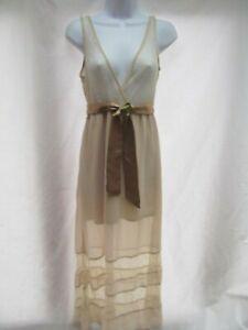 vtg-maxi-long-beige-nightie-night-gown-dress-lace-XS-lined-surplice-belt-MINT