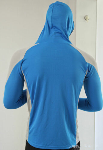 1Mens Sun Protection Long Sleeve Skins Tee Hooded Top Shirts Sport Quick Drying