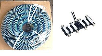 "Combo Pool Vacuum Vac Hose with Swivel Cuff 25' x 1.5"" + Commercial Vacuum Head"