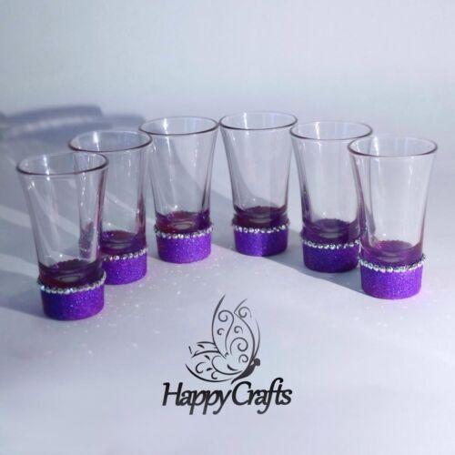 Glitter Sparkle Shot Glasses Set of 6 Purple