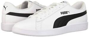 PUMA-Smash-V2-Leather-White-and-Black-Shoes-Men-039-s-10-5M