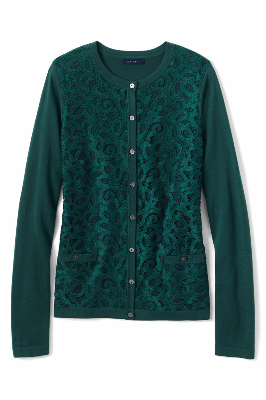 LANDS' END END END LT(14-16) Supima Cotton Lace Overlay Cardigan Sweater NWT  139 48e536