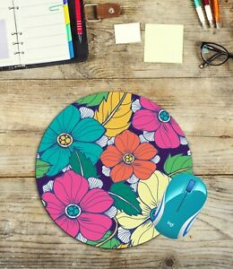 Tropical-Flowers-Round-Mouse-Pad-Easy-Glide-Non-Slip-Neoprene