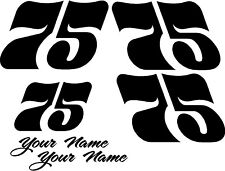 Racing Number Decal Go Kart Motocross Sticker Bmx 1 Color Set Of 4 2 Names