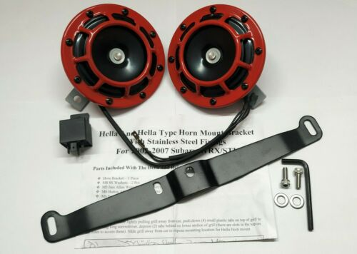 HELLA STYLE RED SHARP TONE DUAL HORN /& SUBARU 2002-2007 MOUNTING BRACKET FIXING