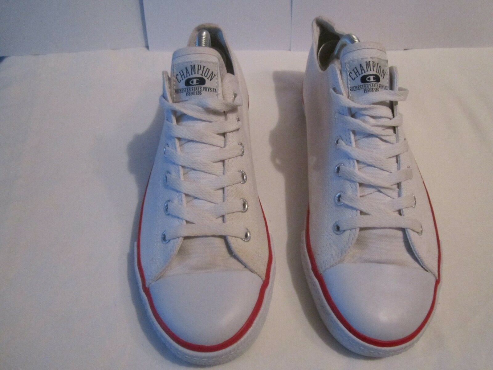 1bb704fec Mens Champion Trainers Low Low Low Tops White Red Size 8 Canvas deck shoes  5d8b90