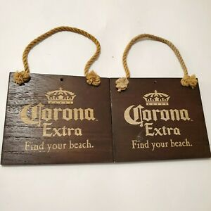 Lot Of 2 Corona Extra Find Your Beach Beer Wood Sign w ...