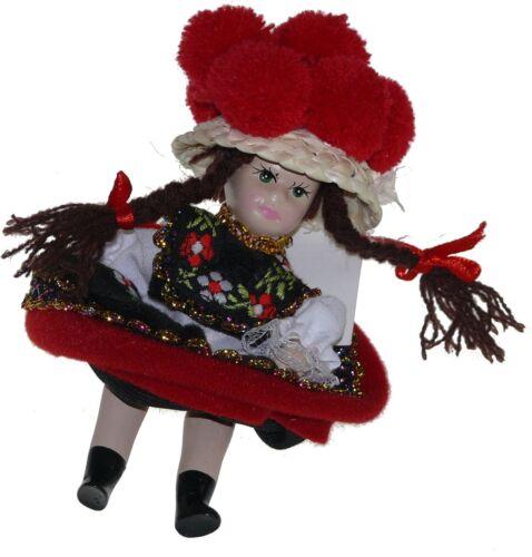 Schwarzwälder Trachtenpüppchen Mädchen 13 cm Bommelhut rot