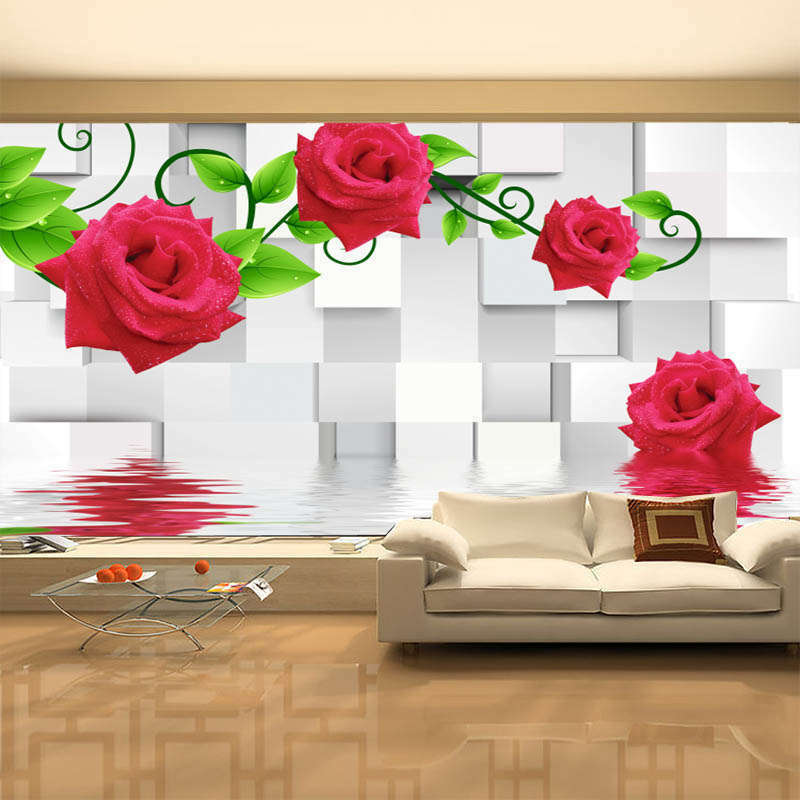Fancy Prominent Rose 3D Full Wall Mural Photo Wallpaper Printing Home Kids Decor