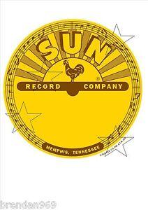 VINTAGE-SUN-RECORDS-ELVIS-DECAL-STICKER-LABEL-9-INCH-DIA-230-MM-HOT-ROD