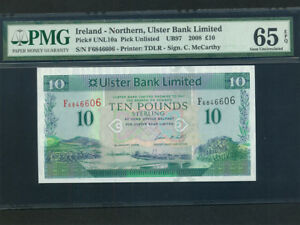 Northern-Ireland-P-340-10-Pounds-2008-Ulster-Bank-PMG-Gem-UNC-65-EPQ