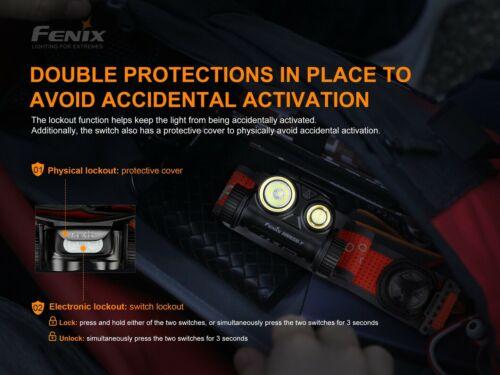 Fenix HM65R-T 1500 Lumen Rechargeable Running Headlamp 2x Battery Battery Case