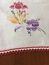 Vintage Linen Table Runner Dresser Scarf Red Crocheted Edges Embroidered Flowers