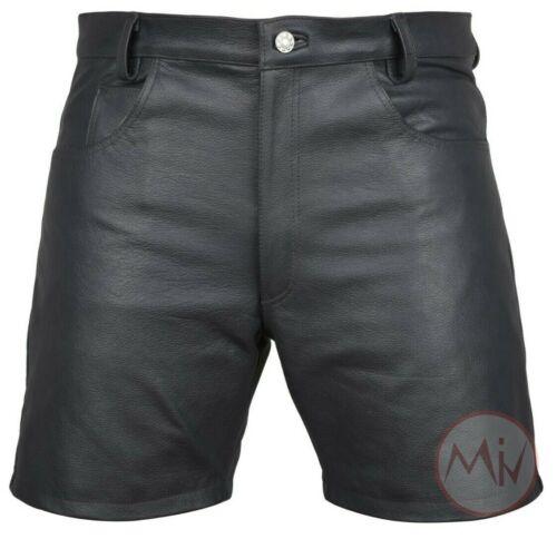 Men/'s Genuine Leather Black Casual 5 Pockets Shorts Gym Running Leder Short