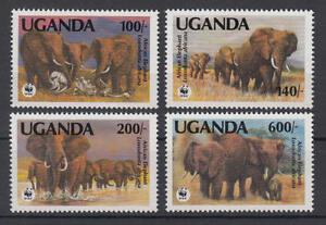 Uganda-Michel-Nr-960-963-postfrisch-WWF-Afrikanischer-Elefant