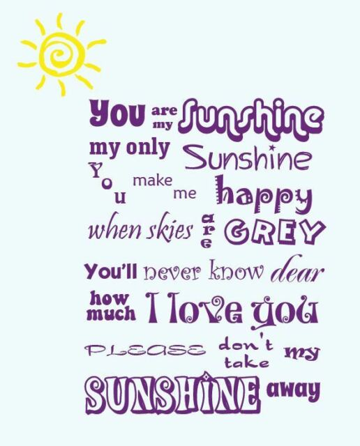 You Are My Sunshine Wall Sticker Nursery Baby Room Boy Girl with SUN