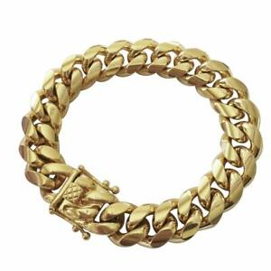 Men-039-s-Miami-Cuban-Link-Bracelet-HEAVY-14K-18K-Gold-Plated-Solid-Stainless-Steel