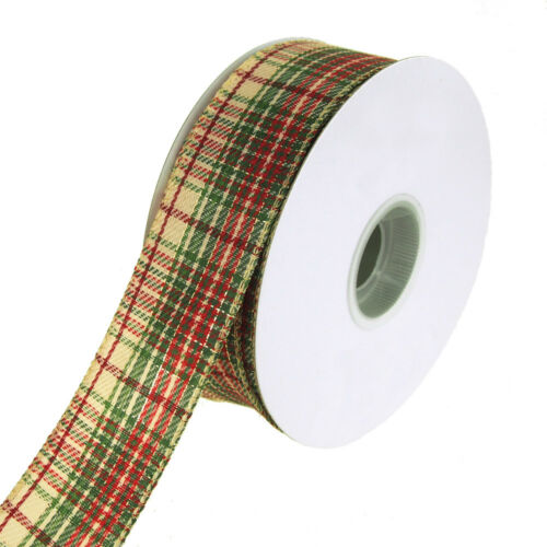 Khaki Plaid Metallic Accent Wired Christmas Holiday Ribbon, 112Inch, 20 Yards