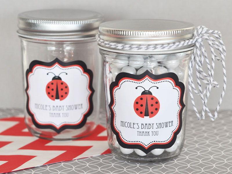 24 Personalized Ladybug Theme Mini Mason Jars Baby Shower Favors