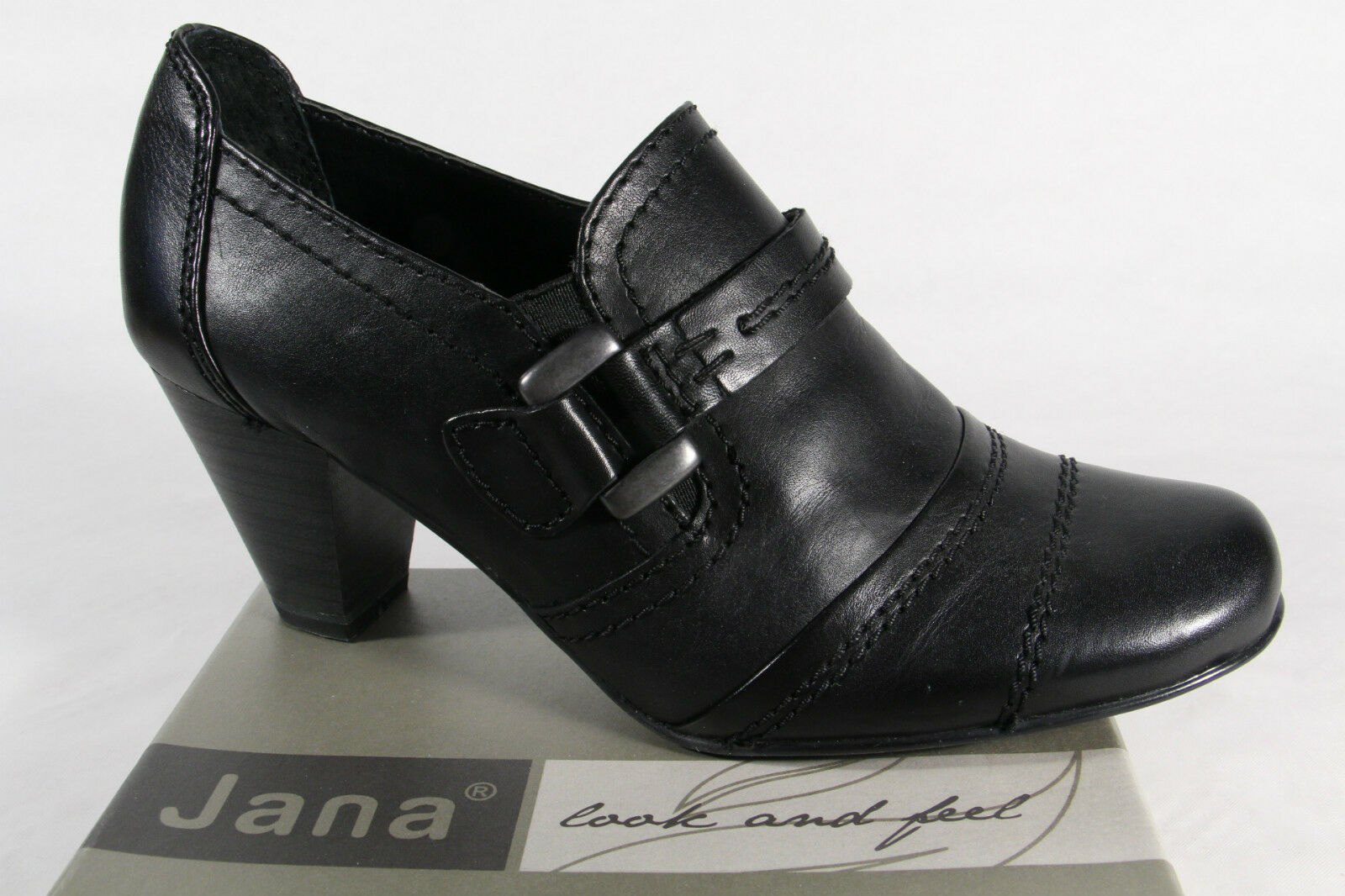 Venta de liquidación de temporada Descuento por tiempo limitado JANA Mujer Tacones slippers Bailarinas Piel Negro Ancho G NUEVO