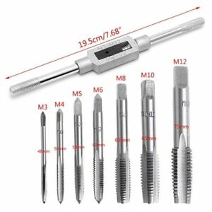 8 Pcs Hand Screw Thread Metric Plug Tap Set M3-M12 With Adjustable Tap Wrench