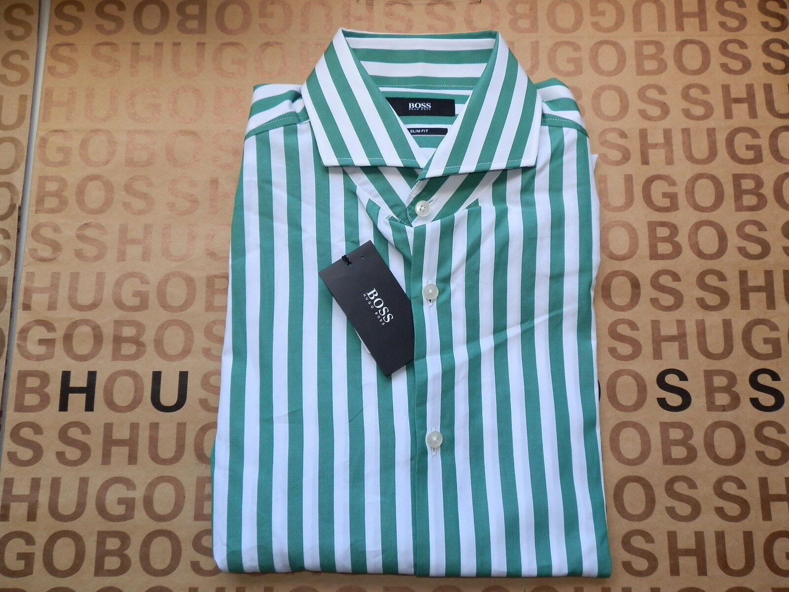 NUOVO HUGO BOSS verde a righe da uomo slim fit Tuta Cotone Smart Formale Camicia 15.5 17