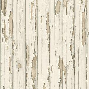 Dekora Natur Cream Wood Wallpaper Distressed Painted Wooden Panel 95883-1 | eBay