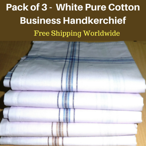 3-White-Mens-Business-Handkerchiefs100-Pure-Cotton-Hankies-Large-45x45CM-Hanky