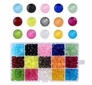 1Box-15-Color-Transparent-Glass-Beads-Frosted-Dyed-Round-Mixed-Color-Craft-Sets