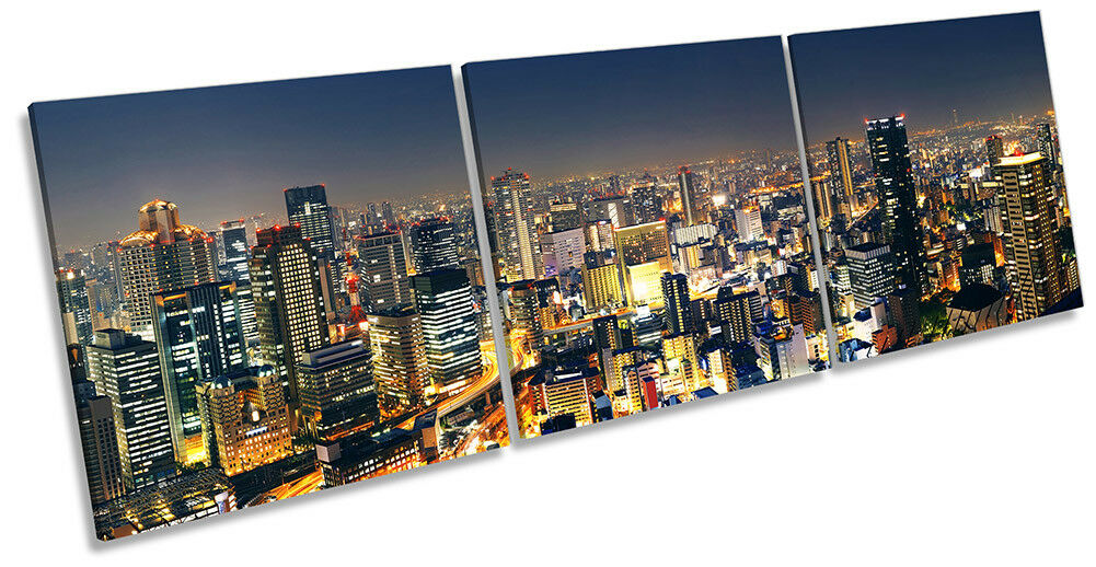 Horizonte de Osaka Japón de LONA pared arte Foto impresión de Japón triple 7eb711