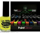 Unisex Glow Up UV Reactive Neon Glow In Dark Yellow Nail Polish Fancy Dress