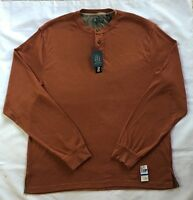 Men's Arrow Big & Tall Rust Orange Knit Henley Shirt-size Xlt