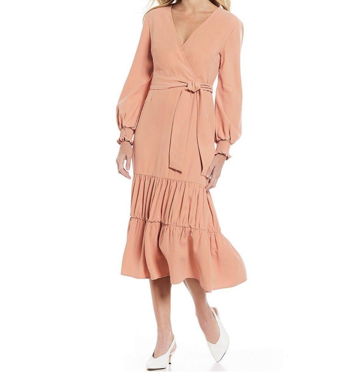 Gianni Bini Wrap Midi Dress Coral Peach Farbe Größe Small Elegant