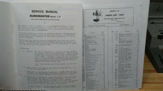 Burgmaster OA OB Model 1D 1963 OBs Drilling Tapping Service Manual Year