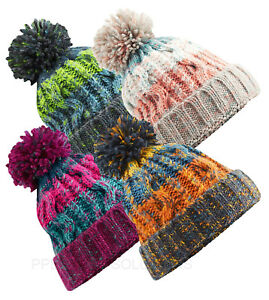 d9836037e Details about Beechfield Beanie Hat Corkscrew Pom Pom Multi Coloured Thick  Winter Knit (B486)