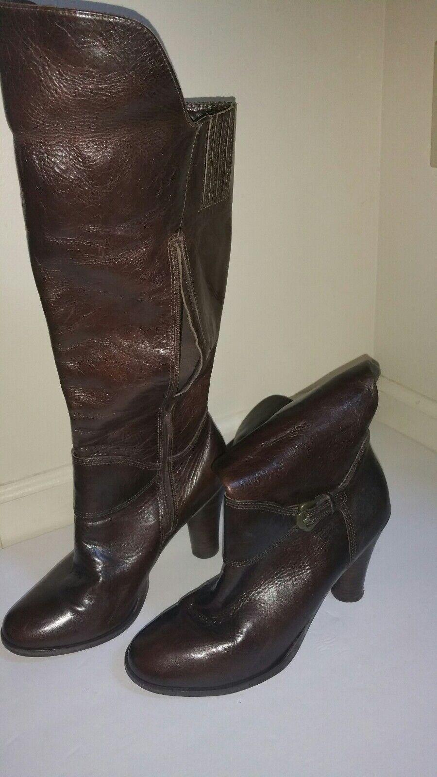 Matisse Women Genuine Leather Round Toe Mid-Calf Knee High Boots Dark Brown 9.5