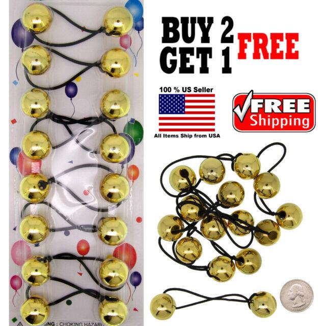 Gold tie beads hair Knocker girl Scrunchie Balls Ponytail Holder Hair Band