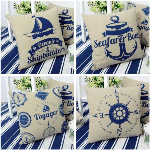 "Anchor Rudder Sailing Pillowcase Pillow Case Cushion Cover Square 43cm 17/"" Retro"