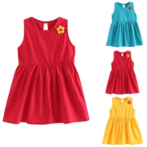 Toddler Kid Baby Girl Flower Casual Princess Party Dress Spring Sundress Soft