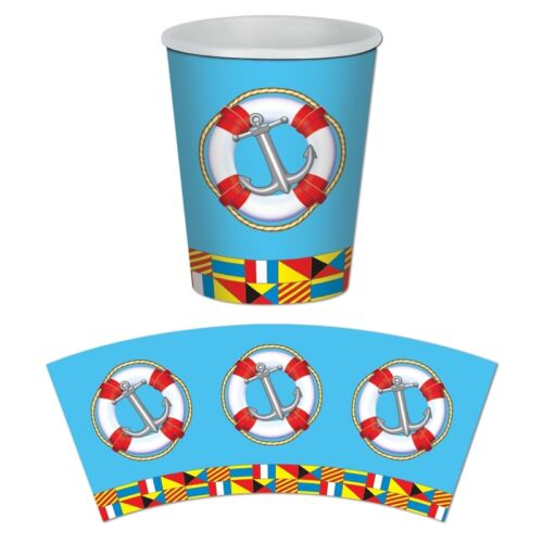 Nautical Flag Paper Cups Pack of 8 Nautical Cruise Party Tableware Decorations