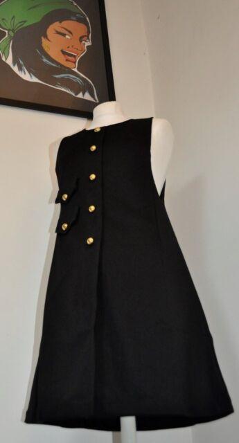 Mod Dress - 1960s black vintage style pinafore by Pop Boutique