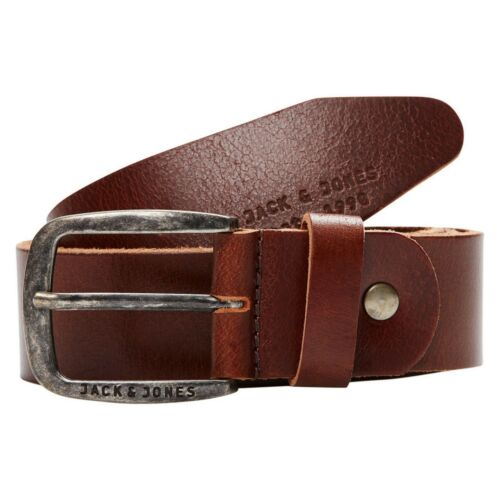 Jack /& Jones Men/'s Branded Classic 100/% Buffalo Leather Belt BNWT