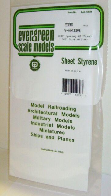 """Evergreen Sheet Styrene 2030 - V-Goove - .030""""/0.75mm Spacing - New. (00)"""